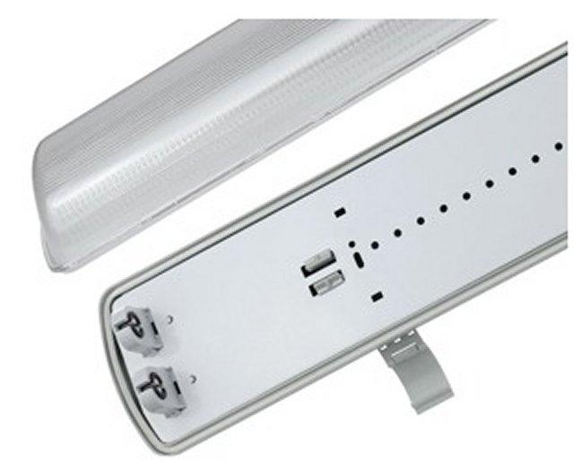 LED Feuchtraum Wannen Leuchte für 2 x T8 LED 120 cm #8147